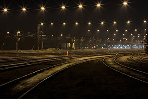 Railroad Tracks as Night